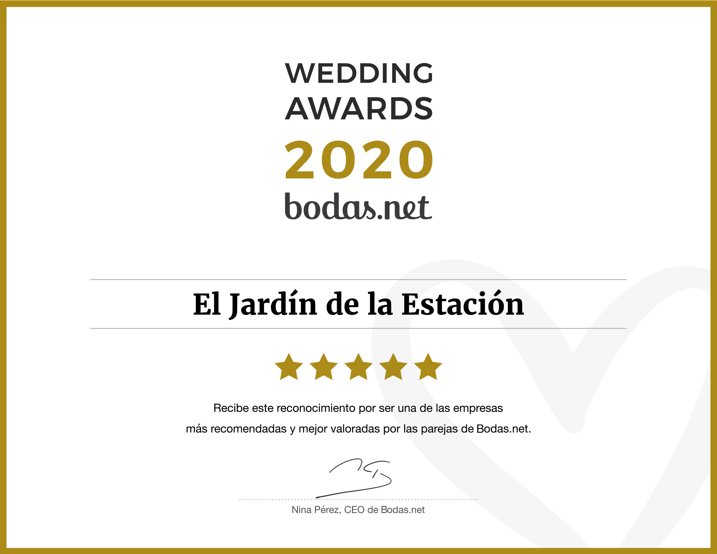 Wedding Awards 2020 - El Jardín de la Estación